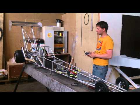 1/3 Scale RC Dragster First Test Run with Servos.