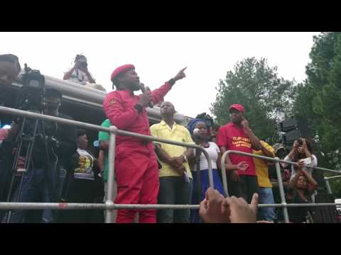 Ndlozi leads National Day of Action protesters in a rendition of Azania