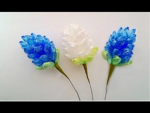 Making a plastic rope flower 2 / ทำดอกไม้จากเชือกฟาง 2