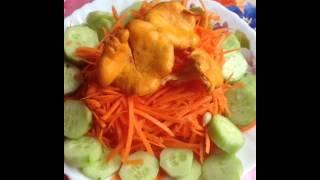 Салат с сырыми лисичками
