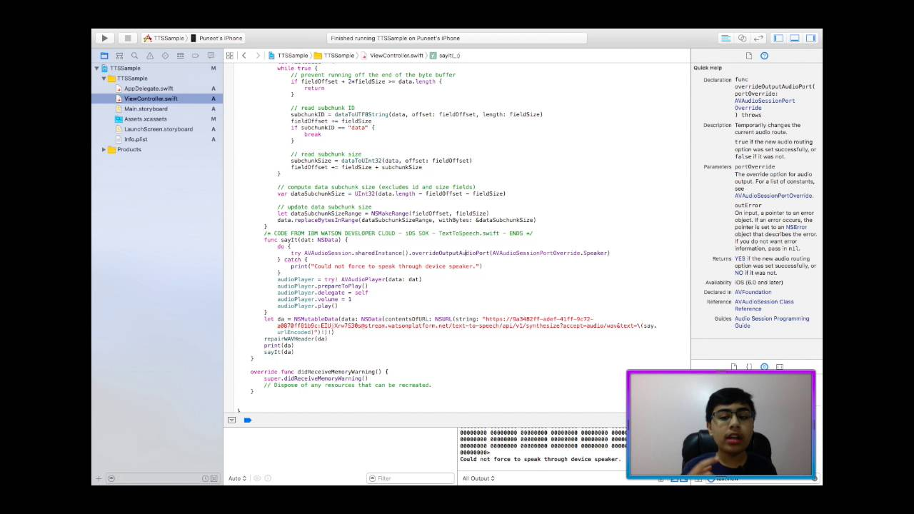 iOS Apps & IBM Watson: Using the Text To Speech service in Swift! (+Playing   WAV Files!)