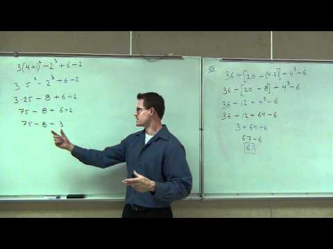 Prealgebra Lecture 1.7: Studying Exponents and Order of Operations