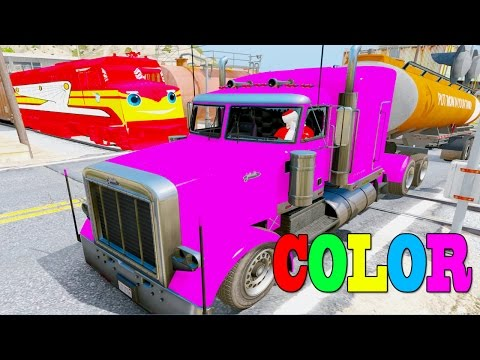 Learn Colors Tanker Truck & Mcqueen Truck In Trouble W Train Trev Diesel By Superheroes Songs