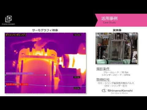 サーモグラフィ+データロガー ガラスシリンダーエンジンの発熱