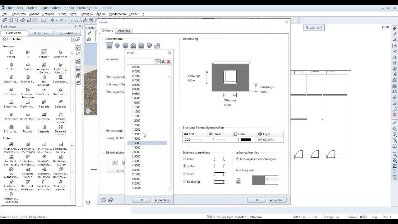 Geliebte Allplan Campus Tutorial - Fenster - YouTube &JS_43