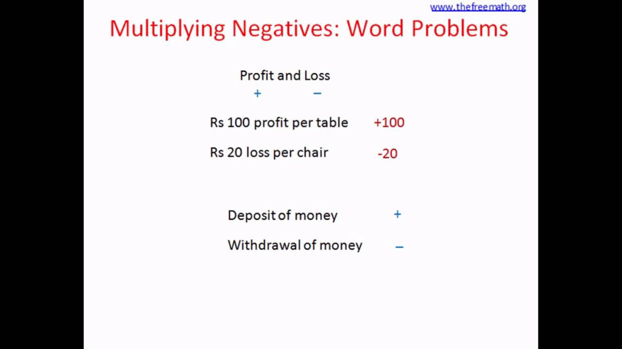Multiplying Negatives Word Problem - YouTube