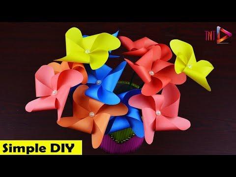 Very Easy Handmade Pinwheel Flower | DIY Paper Origami Flower Craft