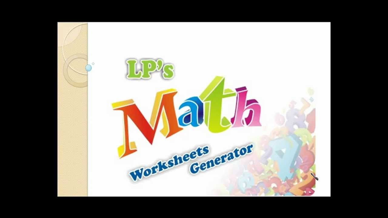 Math worksheet generator- Printable - YouTube