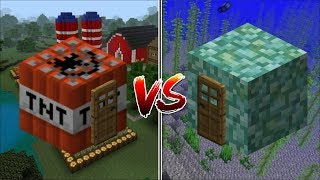 Minecraft TNT HOUSE VS PRISMARINE HOUSE MOD / FIND OUT WHICH HOUSE YOU CAN LIVE IN !! Minecraft