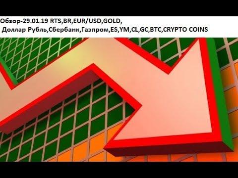 Обзор-29.01.19 RTS,BR,EUR/USD,GOLD, Доллар Рубль,Сбербанк,Газпром,ES,YM,CL,GC,BTC,CRYPTO COINS
