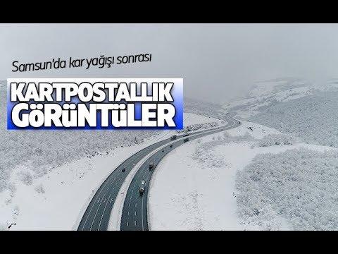 Samsun'da kar yağışı sonrası kartpostallık görüntüler ortaya çıktı.