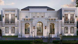 Проект дома в классическом стиле. Дом с эркером, бассейном, террасой и балконом Ремстройсервис V-700