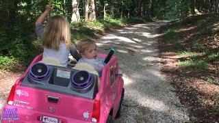 Lost BABY in the woods found walking ALONE rescued by Play Doh Girl in her Pink Power Wheels Ride On