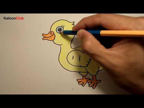 เป็ด สอนวาดรูปการ์ตูนน่ารักง่ายๆ ระบายสี How to Draw Duck Cartoon for Kids Easy Step by Step