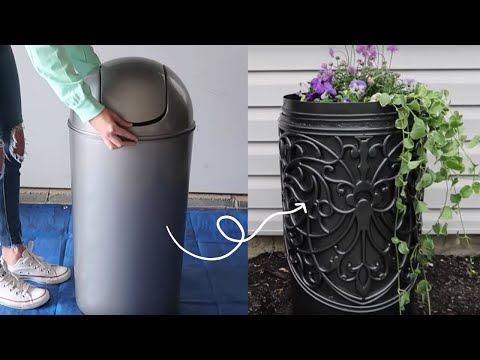 DIY High End Planter | Tie a $9 rug to a $15 trash can for this high end decor idea! | Hometalk