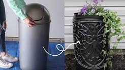 DIY High End Planter | Tie a $9 rug to a $15 trash can for this high end decor idea! | Hometalk
