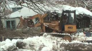 Knocking Down Old House with Case 450 Track Loader