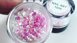 NA 1004 Chunky Iridescent with Baby Pink Fine Sparkles