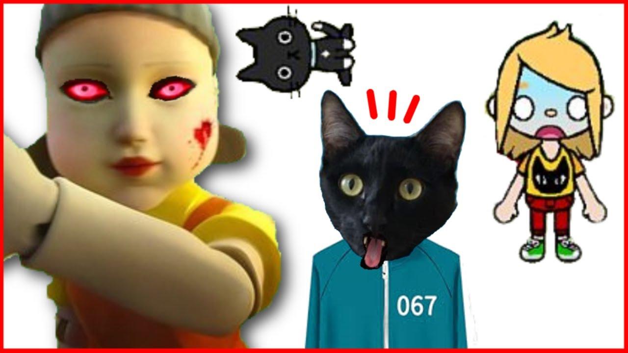 Gato jugando juego del calamar en TOCA LIFE WORLD con gatos Luna y Estrella / Videojuego con gatitos
