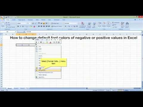 How to change default font colors of negative or positive values in Excel