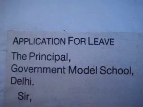 English Grammar How to write application for leave YouTube – Sample Application for Leave from School