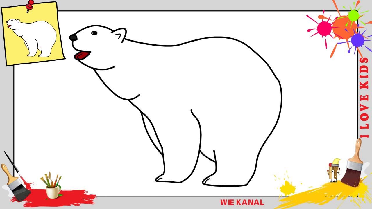 Eisbär Zeichnen Schritt Für Schritt Für Anfänger Kinder Zeichnen Lernen