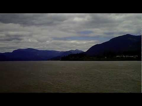 View of Cascade Locks, OR and Stevenson, WA, from the Columbia River