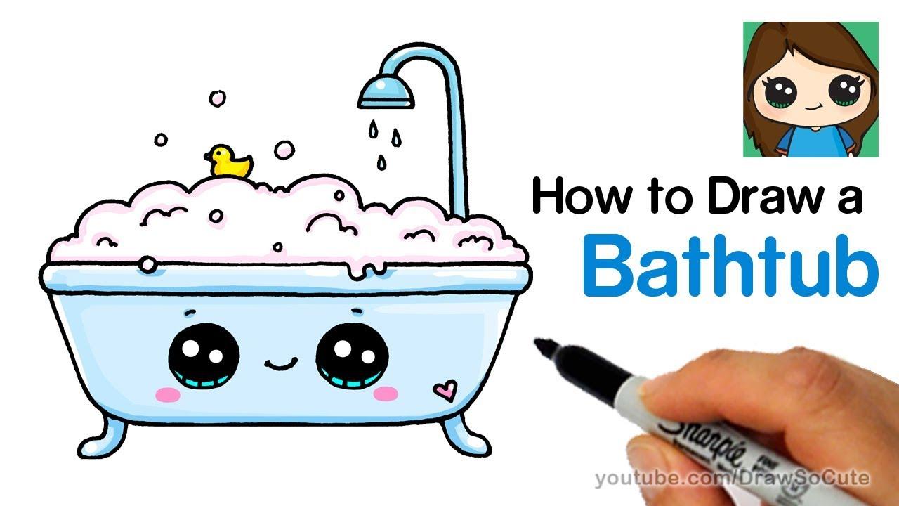 How To Draw A Bathtub Bubble Bath Easy And Cute Youtube