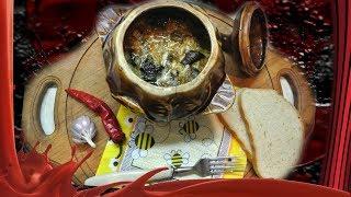Печень с грибами в сметано-чесночном соусе в горшочках.