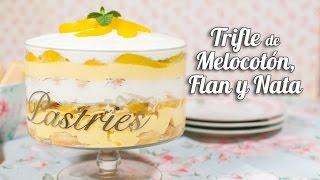 Trifle de Melocotón, flan y nata | Postre sin horno