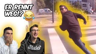 Er rennt vor dem Motorradfahrer weg! - Crazy People