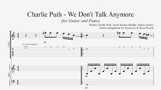 Charlie Puth - We don't talk anymore (for Guitar and Piano) (Free Tabs)