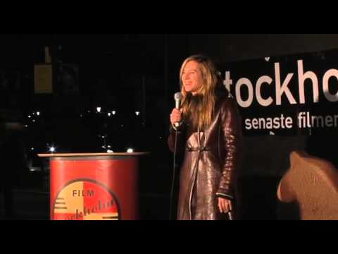 Holly Hunter at Norrmalmstorg during the Stockholm Film Festival