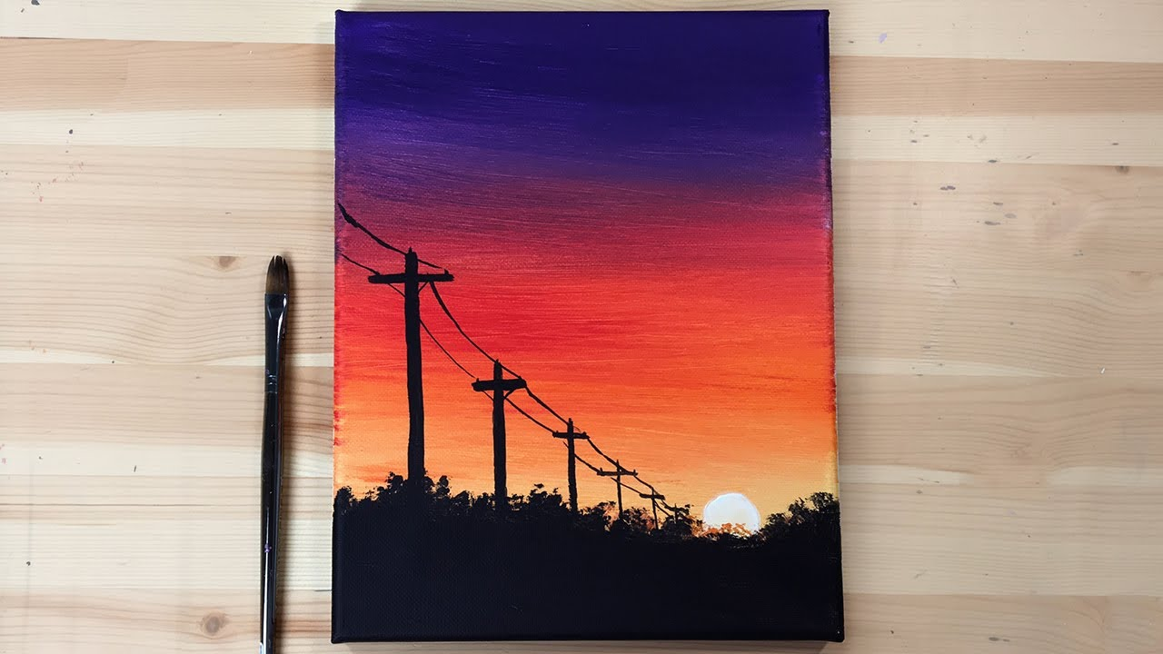 Sunset Power Lines Acrylic Painting Easy Step By Step Daily Art Youtube