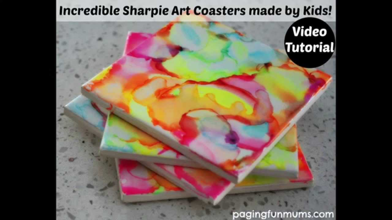 Incredible Sharpie Art Coasters Made By Kids Youtube