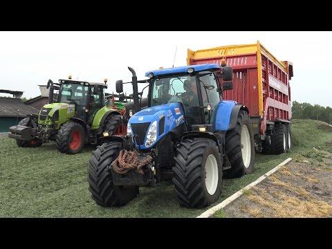 Gras inkuilen bij melkveebedrijf Dogger met New Holland T7.270 en Claas Arion 530 & 640 (2016)