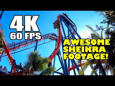 SheiKra Roller Coaster Front Seat Ride INCREDIBLE 4K 60FPS Footage Busch Gardens Tampa