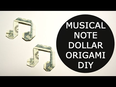 Musical Note Money Origami Dollar Tutorial DIY Folded