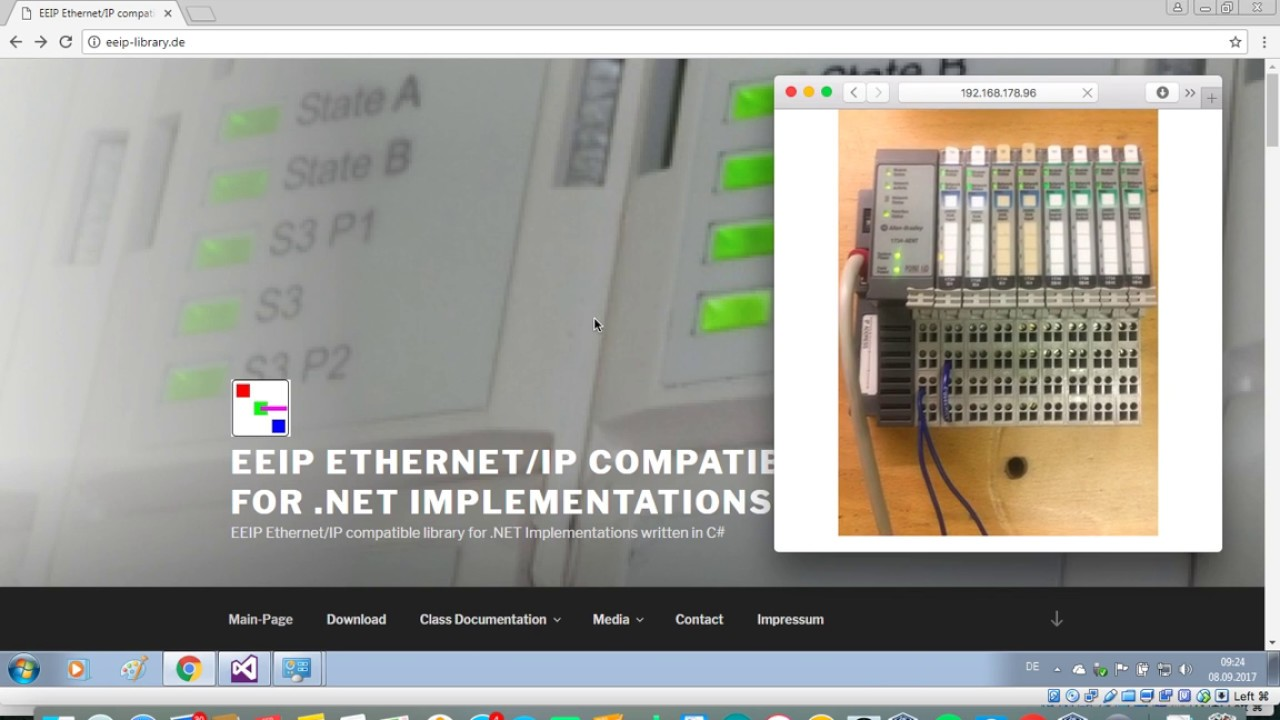 Allen Bradley Point IO Implicit Messaging using EEIP  NET Library by SRES