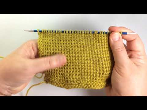 Тунисская наклонная петля / Вязание спицами / Sloping Tunisian Stitch