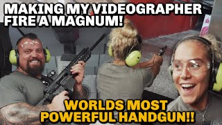 48Kg Girl fires magnum | Nearly loses teeth!!!