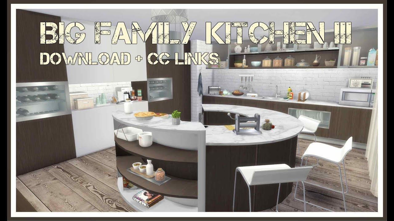 Sims 4 big family kitchen iii download cc creators for Large family kitchen