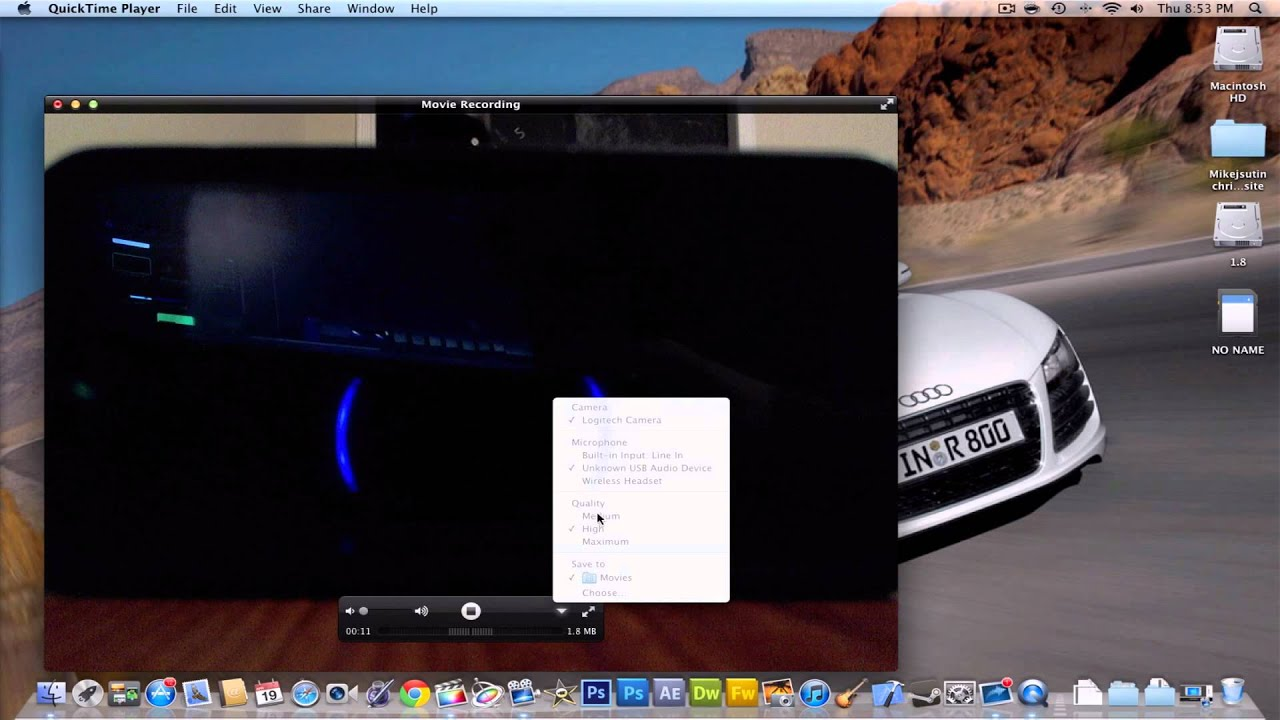 quicktime player for mac how to add camera