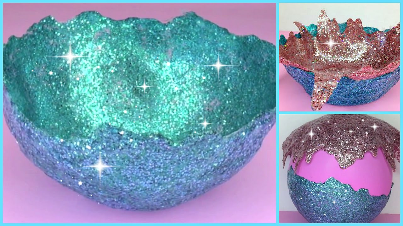 Diy glitter accent bowl youtube for Glitter balloon bowl