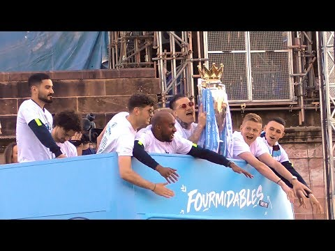 Man City Players Take Part In Trophy Parade Through Manchester City
