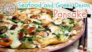 Korean Seafood And Green Onion Pancake (해물 파전, HaeMul PaJeon) | Aeri's Kitchen
