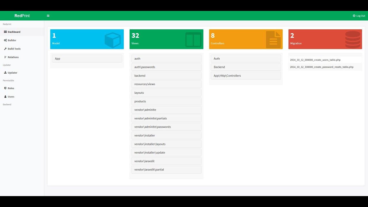 Redprint Laravel 5 6 (CRUD) App Builder - Features
