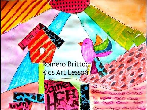 Joseys Art School Episode #55 Romero Britto Pop Art Kids Art Lesson Homeschool Art Lesson