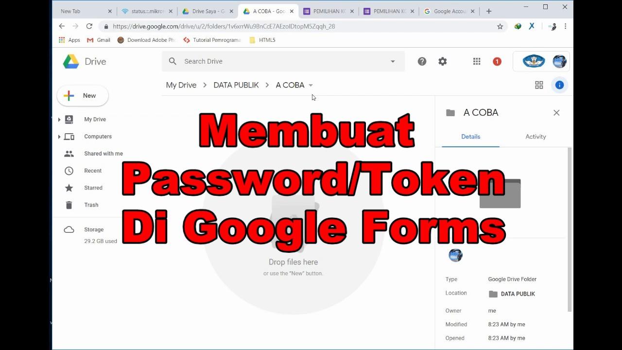 Cara Membuat Password Token Di Google Forms Youtube