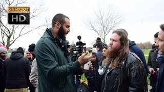 P1 - Atheists believe in Flying Horses!? Mohammed Hijab vs Atheist | Speakers Corner | Hyde Park